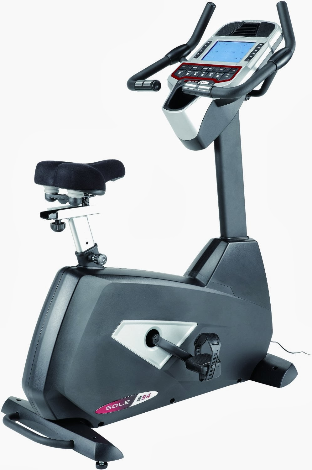 Get fit at home with the Sole Fitness B94 Upright Exercise Bike, sturdy and ergonomically designed exercise bike with 10 programs