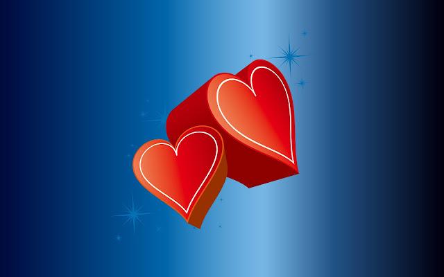 Rode 3D liefdes hartjes op een blauwe achtergrond