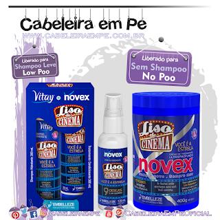 Shampoo (Liberado para Low Poo), Condicionador, Máscara e Spray (Liberados para No Poo) Liso de Cinema - Novex