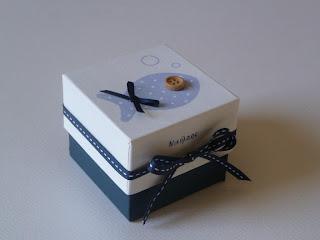 μπομπονιέρα κουτάκι για αγοράκι με γαλάζιο ψαράκι