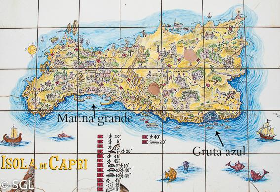 Mapa de Capri y la gruta azul