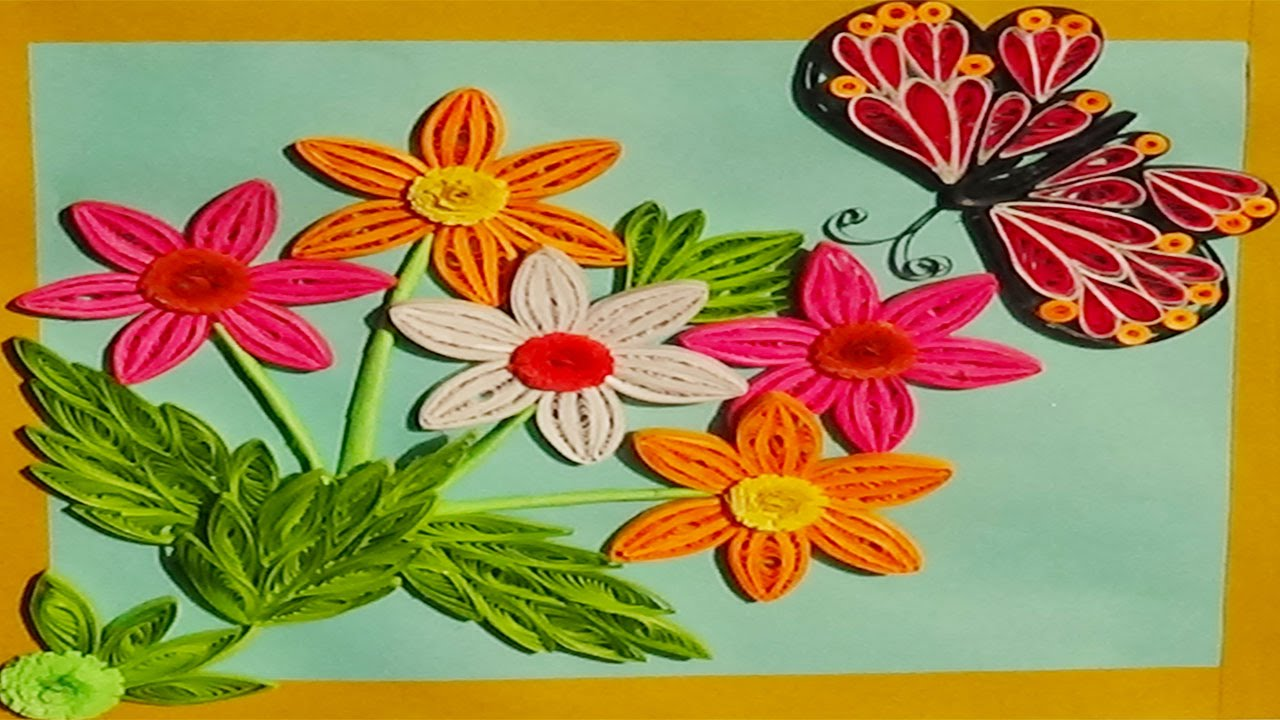 Paper quilling making quilled greeting card by using flowers and paper quilling making quilled greeting card by using flowers and butterflies kristyandbryce Choice Image