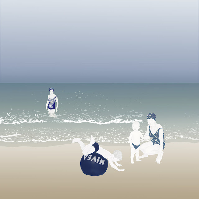 playa , gorros baño , sirenas, dibujo, nivea
