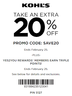 Kohls coupon 20% OFF any order