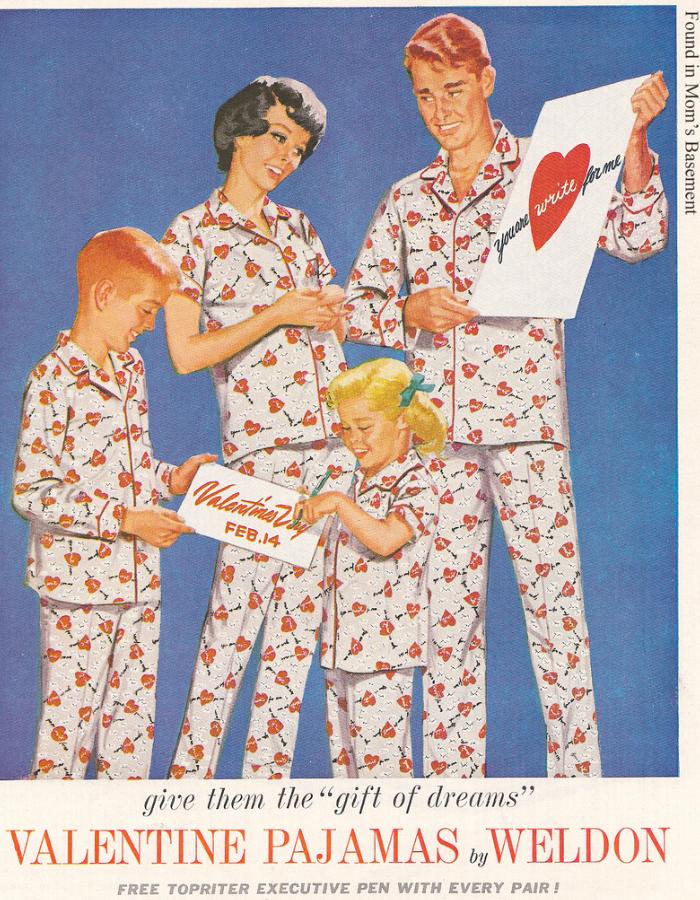 Pajamas, Vintage Valentine's Day ads