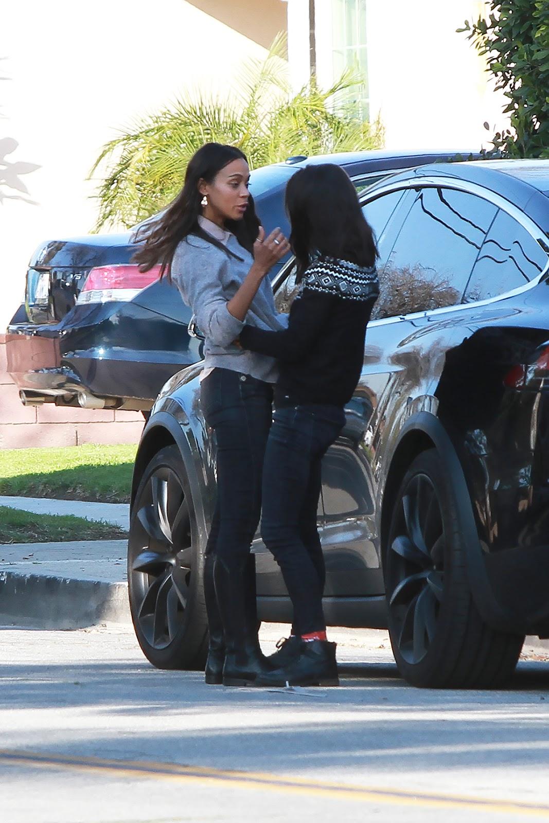 Mila Kunis and  Zoe Saldana run into each other in LA - 02/08/2019