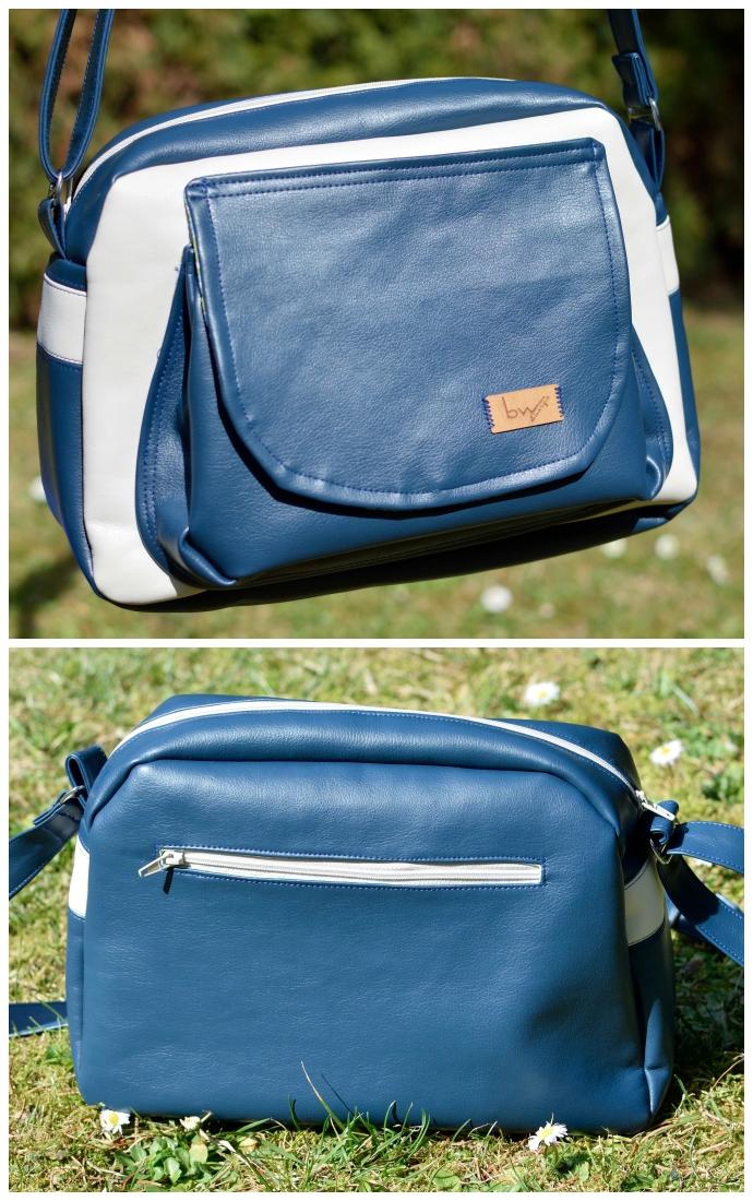 Vorderansicht mit geräumiger Plustertasche in Natur und Blau. Rückseite mit untergelegtem Reißverschlussfach mit Naturfarbenem Endlosreißverschluss