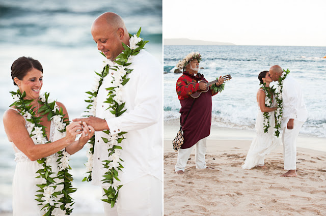 exchanging rings on ironwoods beach