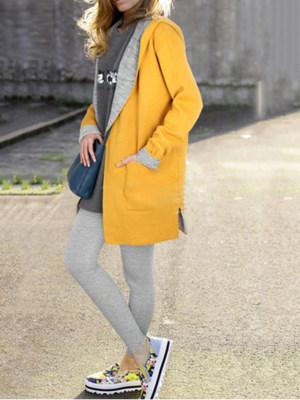 Hooded Patch Pocket Side Slit Plain Plus Size Jacket & Outwear