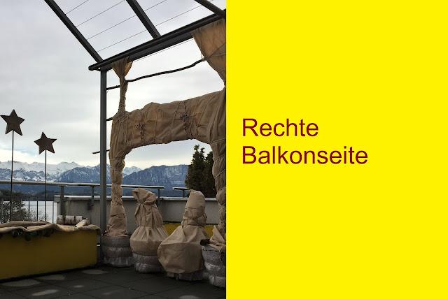 Rechte Balkonseite Topfpflanzen eingepackt in Vlies