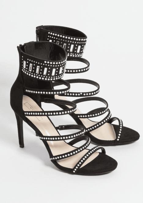 rue21 black rhinestone six strap stilettos