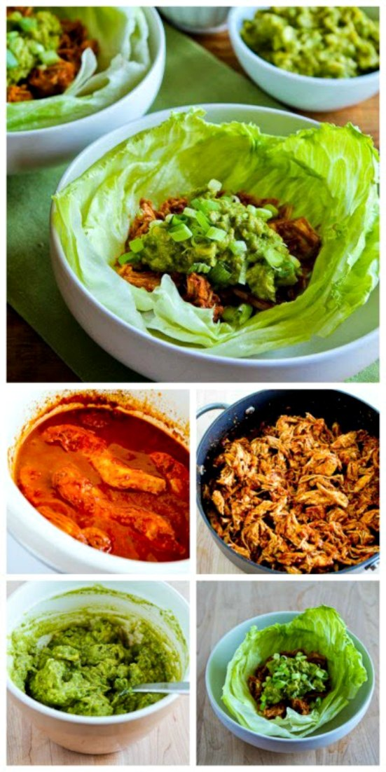 Slow Cooker Low-Sugar Pulled Chicken (or pork) Lettuce Wraps from Kalyn's Kitchen found on SlowCookerFromScratch.com