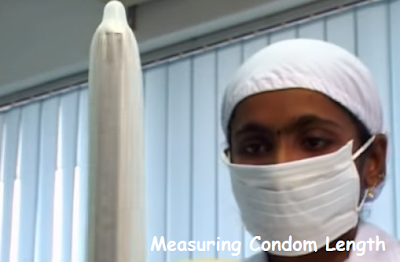 pic shows the proper method to measure condom length