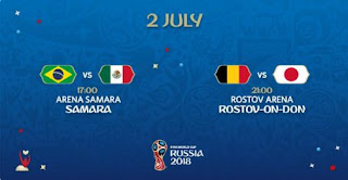 Jadwal Piala Dunia Senin 2 Juli 2018: Brasil vs Meksiko, Belgia vs Jepang