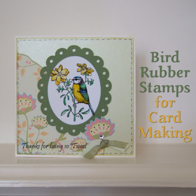 Using bird rubber stamps for making cards, scrapbooking and paper crafts
