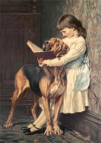 Девочка с бладхаундом картина  Charles Burton Barber