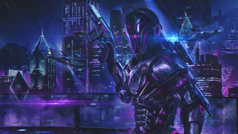 Sci-Fi, Soldiers, Cyberpunk, City, 4K, #4.975