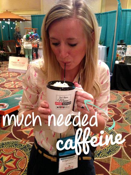 Bridget drinking coffee