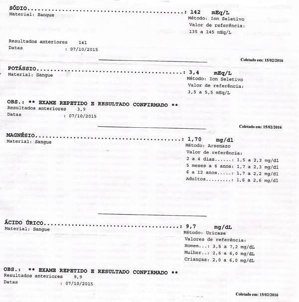 Resultado dos meus exames (Paulo Rocha) feito no dia 15 de fevereiro de 2016
