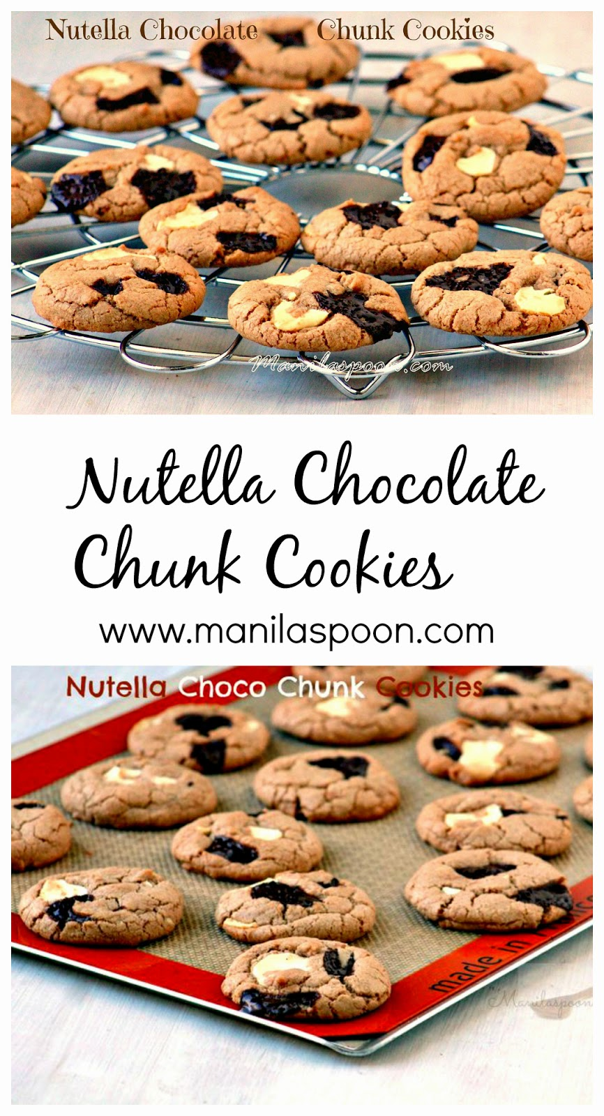 Love to eat these Nutella Choco Chunk Cookies warm when the gooey choco bits melt in your mouth. Enjoy with some ice cream for the ultimate treat! #nutella #cookies