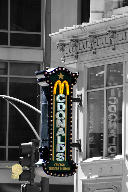 Old Mcdonalds Sign In Downtown Chicago Selective Coloring