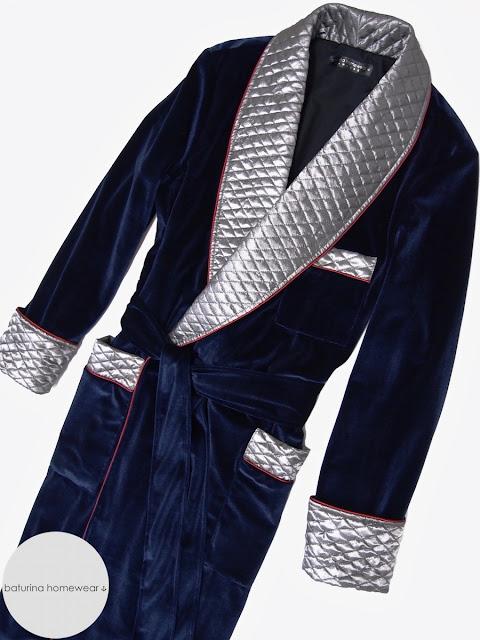 Mens velvet robe gentlemans smoking jacket quilted silk