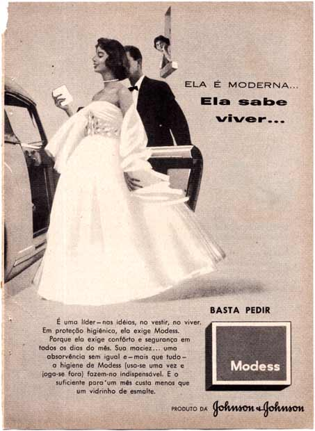 Propaganda do Modess nos anos 50. Johnson & Johnson.