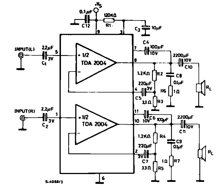 amplifiercircuits com tda2004circuit diagram for 10 10w stereo amplifier for car radio