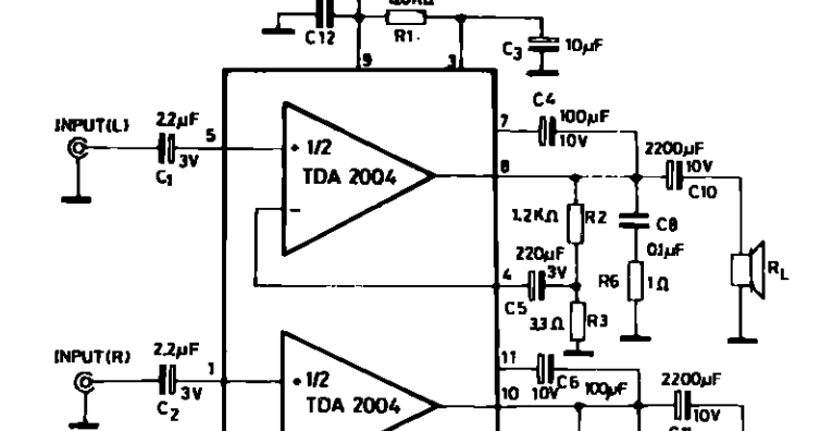 Schematic Diagram: 10 10W STEREO AMPLIFIER FOR CAR RADIO