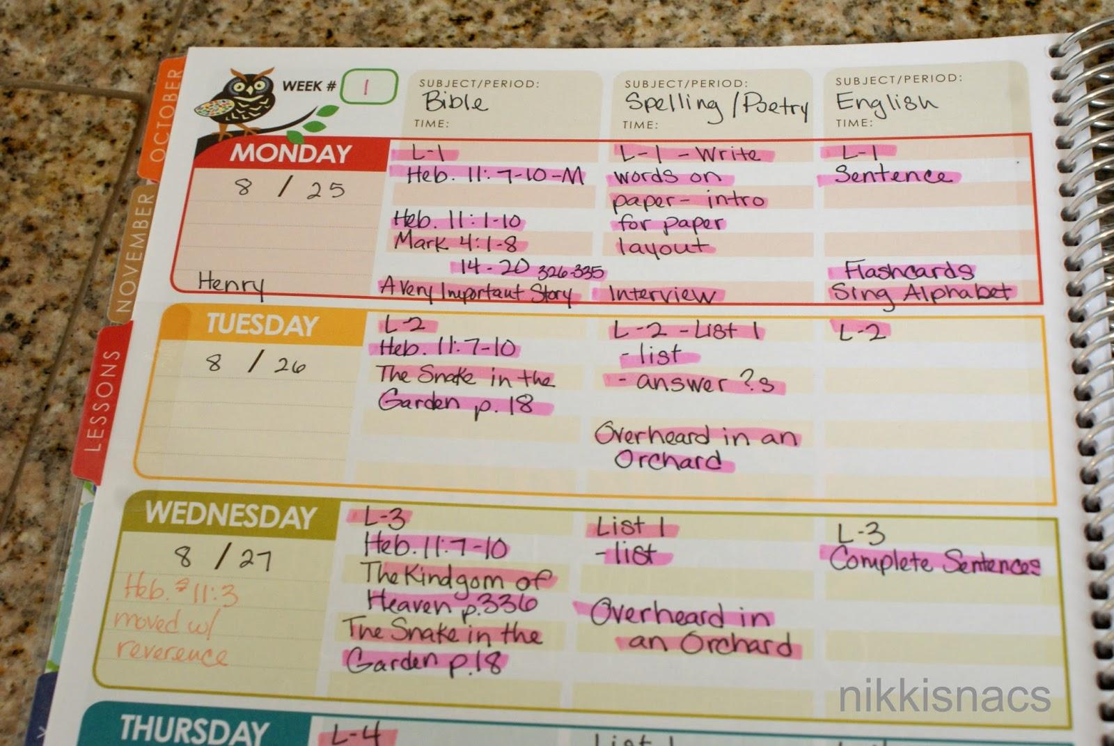 nikkis nacs the homeschool series how i lesson plan erin