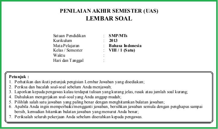 Download Kunci Jawaban Pas Bahasa Indonesia Kelas 8 Tahun 2018 Ilmusosial Id