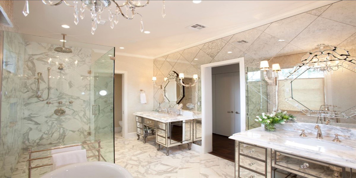 mirror and glass shower door