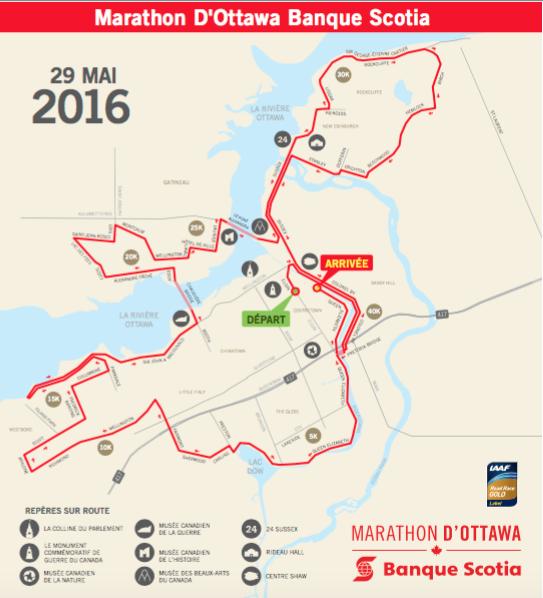 parcours du marathon d'Ottawa