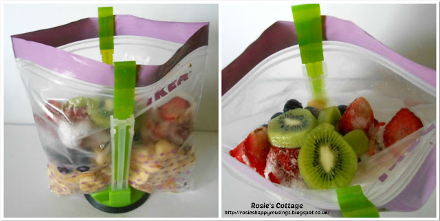 Preparing smoothie bags ready to freeze