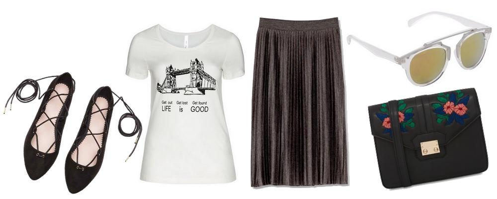 3968320b834e tričko - SHEEGO.SK   balerínky - H M   sukňa - PULL BEAR   kabelka -  PRIMARK   okuliare - ZOOT