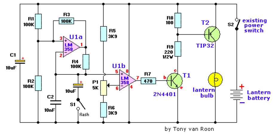 Simplest Lamp Flasher Circuit Electronic Circuits And Diagram