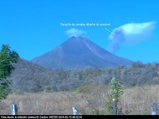 Explosion sur le volcan Momotombo, 15 février 2016 matin