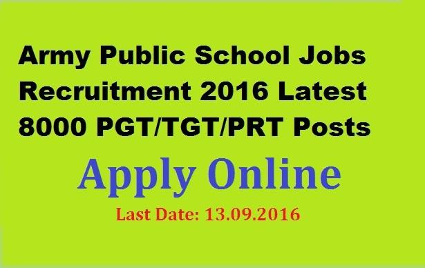 8000 PGT TGT Teachers Recruitment Notification in Army Public Schools Apply Online