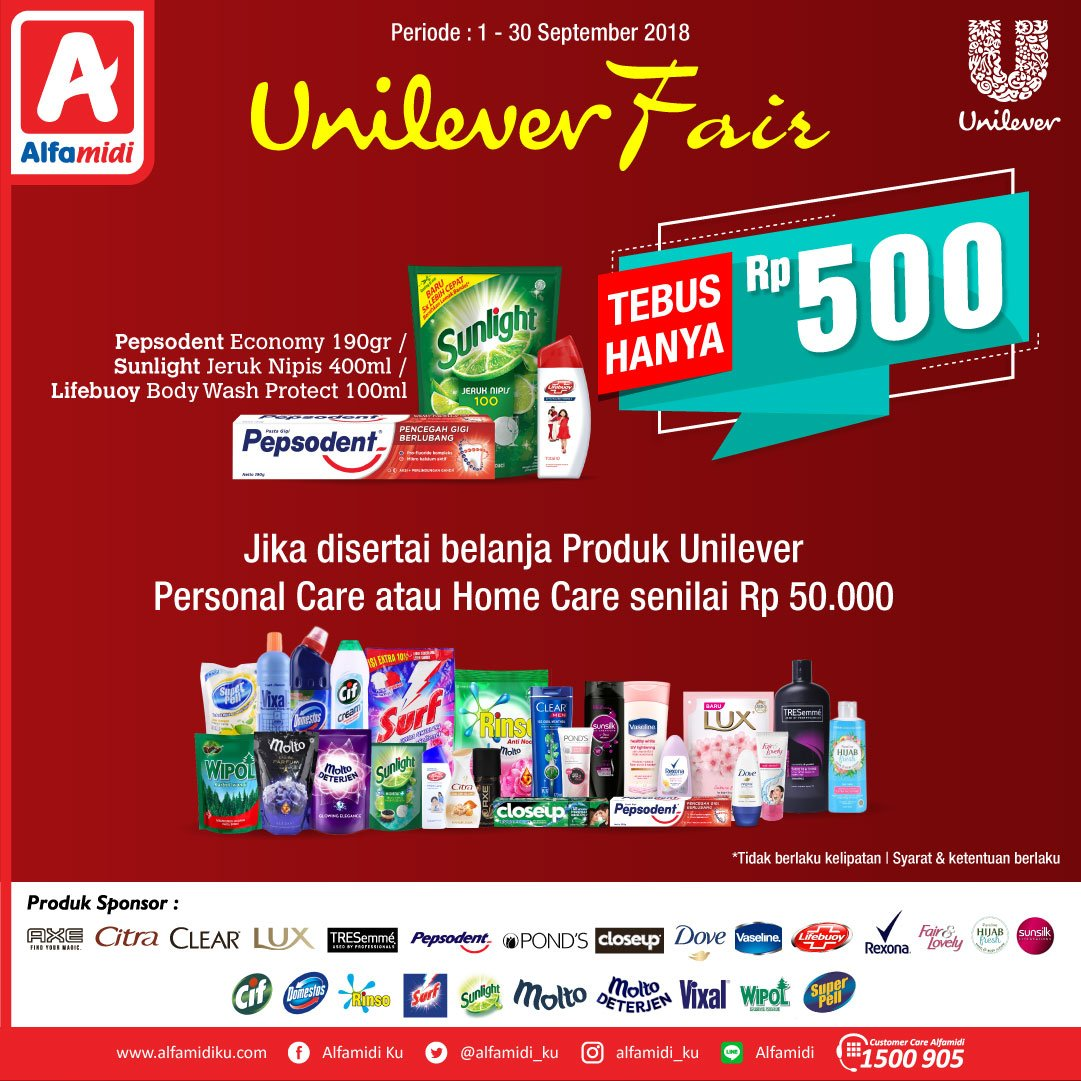 Alfamidi - Tebus Hanya 500 Rupiah di Unilever Fair 2018 (s.d 30 Sept 2018)