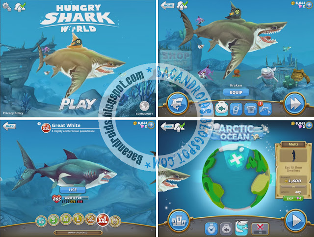 Game Hungry Shark World Mega Mod Apk + Data obb terbaru versi gratis