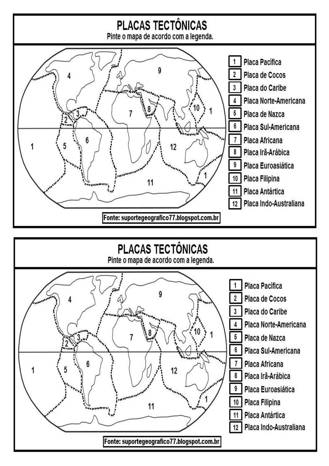Mapa De Placas Tectonicas Para Colorear Mapasmundi De