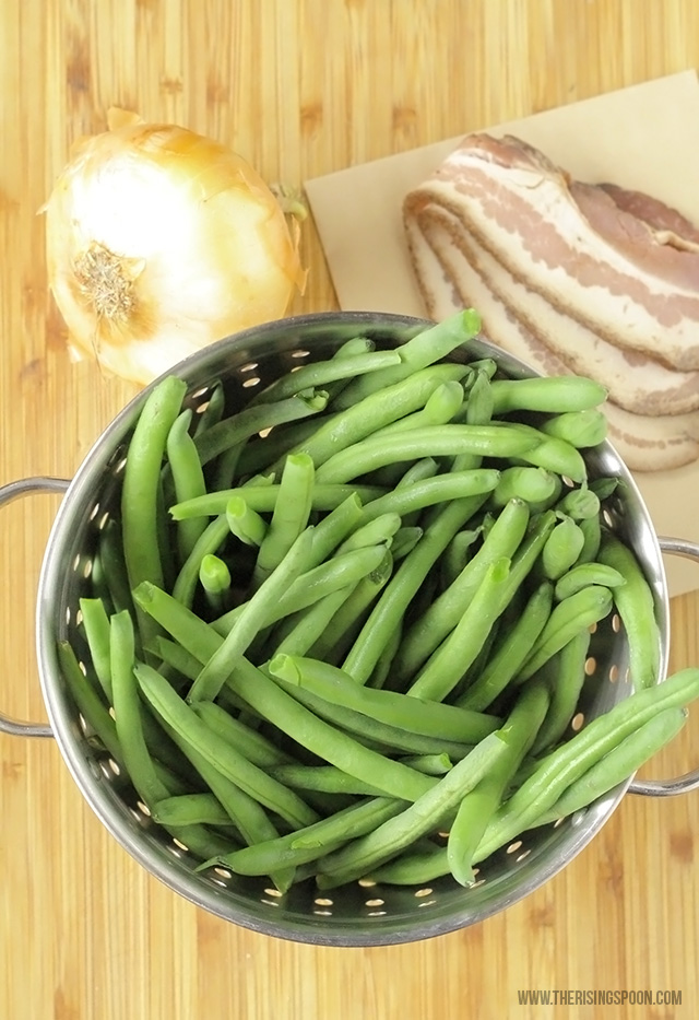 Ingredients For Roasted Green Beans with Bacon & Onion Recipe