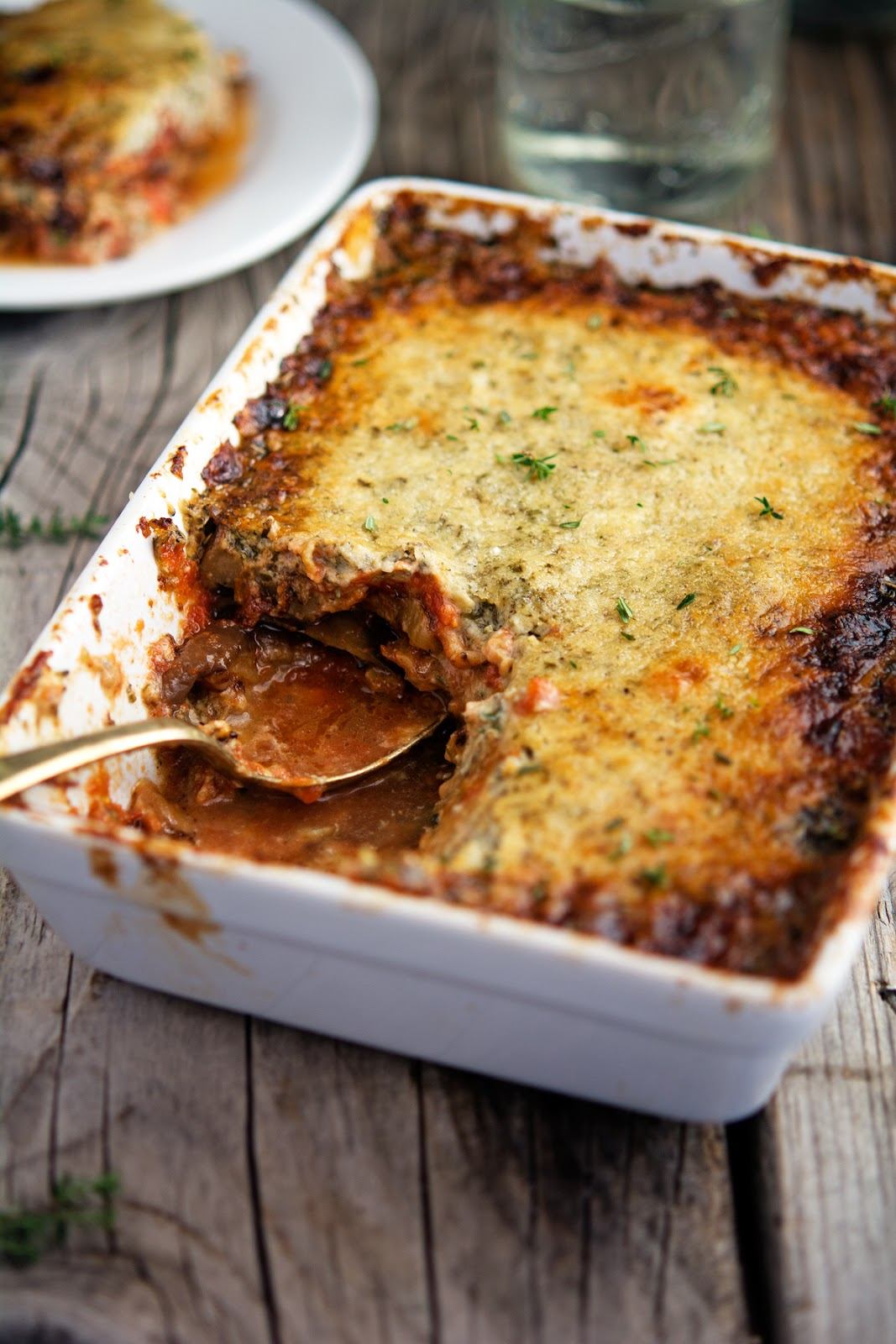Eggplant Gratin with Tomato Herbs and Creme Fraiche