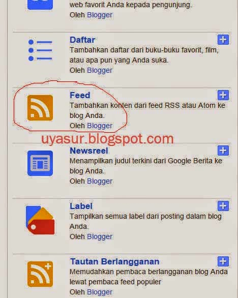 widget feed dipasang
