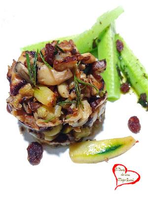 Salteado de cebolla, calabacín y shiitake