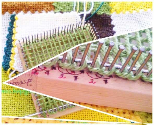 Manta de cuadros con telar casero de tablas y clavos
