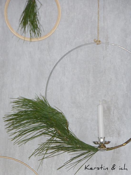DIY Lichterkranz mit Christbaumkerzen und Kiefernzweigen, DIY Wreath