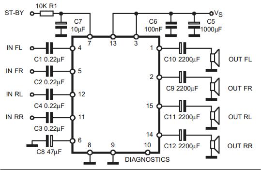 2x30w dual  quad power amplifier for car radio tda7377