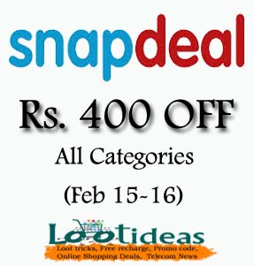 Today's Offer on snapdeal (Rs. 400 Off) Use Snapdeal promo code