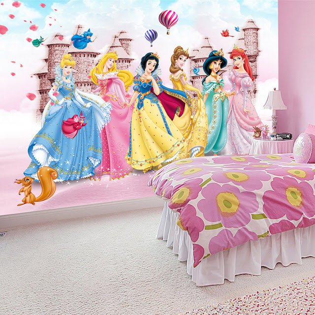 ... Disney Princess Wall Mural Photo Background Wallpaper Photography  Princesses Cartoon Murals 3d Wall Papers Castle Balloons ... Part 23
